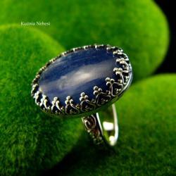 nehesi,pierścień,srebrny,kyanit,granatowy - Pierścionki - Biżuteria