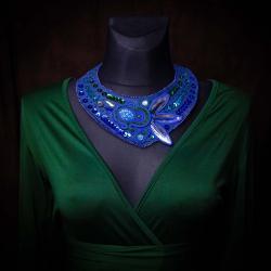naszyjnik soutache,kobaltowy naszyjnik - Naszyjniki - Biżuteria