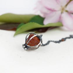 srebrny wisior,surowy cytryn,prezent dla niej - Wisiory - Biżuteria