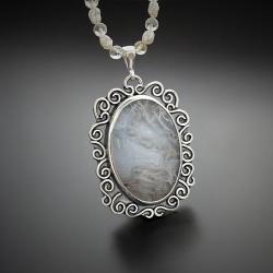 srebrny,naszyjnik,z perłami i agatem mszystym - Naszyjniki - Biżuteria