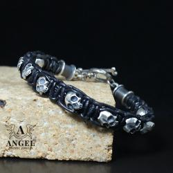 męska biżuteria z czaszkami,surowa bransoleta - Bransoletki - Biżuteria