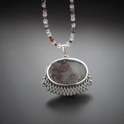srebrny,naszyjnik,z agatem mszystym - Naszyjniki - Biżuteria