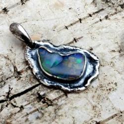 opal,srebrny,baśniowy,retro,teczowy,srebro,zieleń - Wisiory - Biżuteria