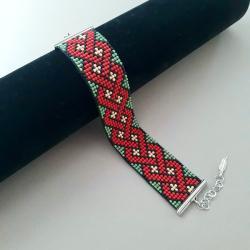 bransoletka tkana,na prezent,czerwona - Bransoletki - Biżuteria
