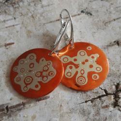 mokume,japonia,wzory,srebrne,miedź,słoje drzewa, - Kolczyki - Biżuteria