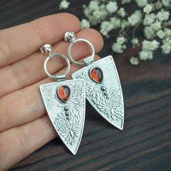 trójkąty,kwiaty,eleganckie,boho,romantyczne - Kolczyki - Biżuteria