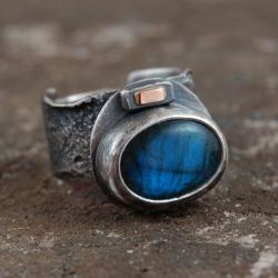 pierścionek ze srebra,złota,labradorytu - Pierścionki - Biżuteria