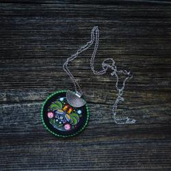 folkowy naszyjnik,łowicki wzór - Wisiory - Biżuteria