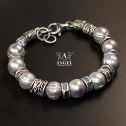 bransoleta z pereł słodkowodnych,surowa biżuteria - Bransoletki - Biżuteria