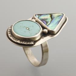 pierścionek z muszlą paua i howlitem - Pierścionki - Biżuteria