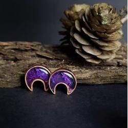 kolczyki miedzine księżyce,biżuteria symboliczna - Kolczyki - Biżuteria