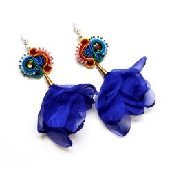 rivoli,szyfon,sutasz,kwiaty,z kwiatami,tęcza - Kolczyki - Biżuteria