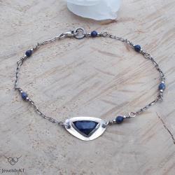 srebro,delikana bransoletka,szafir,JewelsbyKT - Bransoletki - Biżuteria