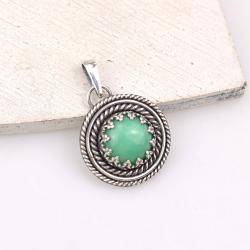 zielony,wisior,retro,okrągły,chryzopraz,wisiorek - Wisiory - Biżuteria