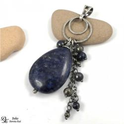 wisiorek,lapis lazuli,granatowy,piryt,złoty,kropla - Wisiory - Biżuteria