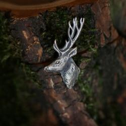 jeleń,Srebrna broszka pin z jeleniem - Broszki - Biżuteria