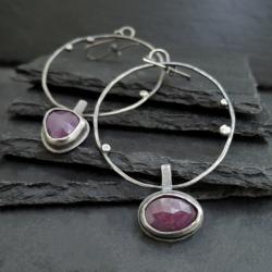 srebro,złoto,rubin - Kolczyki - Biżuteria