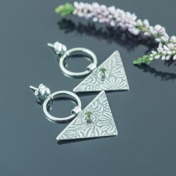 kolczyki trójkąty,kwiaty,boho,romantyczne - Kolczyki - Biżuteria
