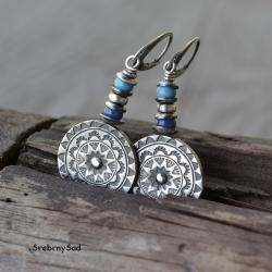 srebrna mandala,długie kolczyki - Kolczyki - Biżuteria