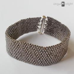 Bransoletka srebrny pasek zapięcie na magnes - Bransoletki - Biżuteria