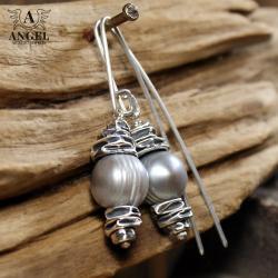 kolczyki z szarych pereł,biżuteria z pereł - Kolczyki - Biżuteria