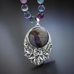 srebrny,naszyjnik,z fioletowym labradorytem - Naszyjniki - Biżuteria