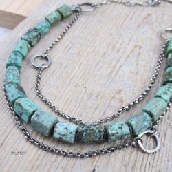 Surowy naszyjnik z bryłek turkusu,srebro - Naszyjniki - Biżuteria