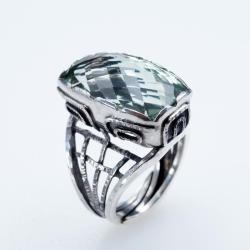 pierścionek z soczystym prasiolitem - Pierścionki - Biżuteria