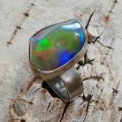 Pierścionki pierścionek,opal teczowy,srebrny,baśniowy,srebro