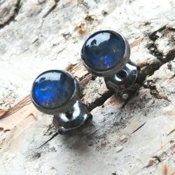 labradoryt,granat,blask,srebrne,retro,kobalt, - Kolczyki - Biżuteria