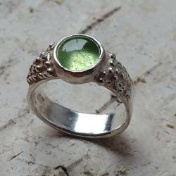 oliwin,srebrny,surowy,zieleń,blask,peridot,retro - Pierścionki - Biżuteria