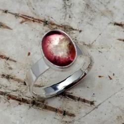 turmalin,arbuzowy,srebrny,delikatny,blask,różowy - Pierścionki - Biżuteria