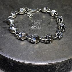 surowa srebrna biżuteria męska,bransoleta męska - Dla mężczyzn - Biżuteria