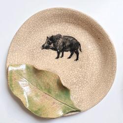 Glina,ceramika,szkliwo,naczynie,dzik - Ceramika i szkło - Wyposażenie wnętrz