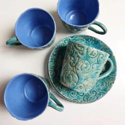 filiżanka,talerz,ceramika,turkus - Ceramika i szkło - Wyposażenie wnętrz