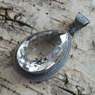 Wisiory kryształ górski,blask,srebro,okazały,oksyda,retro