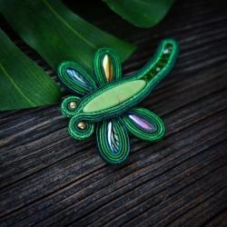 broszka soutache,zielona broszka - Broszki - Biżuteria