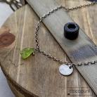 Naszyjniki peridot,srebrny,oksydowany,surowy