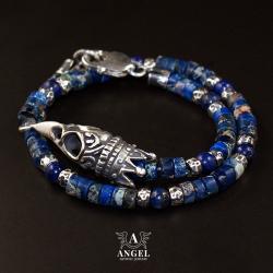 surowa bransoleta z czaszką ptaka w koronie - Dla mężczyzn - Biżuteria