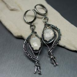 kamień księżycowy,kolczyki z kamieniem,wire wrap - Kolczyki - Biżuteria