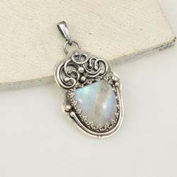 wisior,retro,kamień księżycowy,romantyczny - Wisiory - Biżuteria