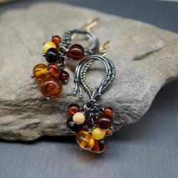 bursztyn,kolczyki,gronka,lato,wire wrapping - Kolczyki - Biżuteria