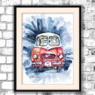 Obrazy czerwona furgonetka,autko,prezent dla niego