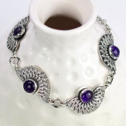 bransoletka,ametyst,retro,srebrna,elegancka, - Bransoletki - Biżuteria
