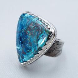 pierścionek regulowany z azurytem - Pierścionki - Biżuteria