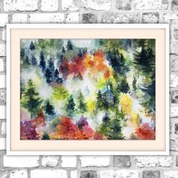 krajobraz,góry,las,natura,domek,chatka - Obrazy - Wyposażenie wnętrz