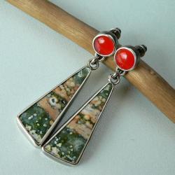 z jaspisami,karneol,srebro oksydowane - Kolczyki - Biżuteria