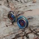 Kolczyki mini sztyfty z tytanu,lekkie,tęczowa,tytanowa