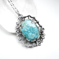 biżuteria artystyczna,srebro,rękodzieło,turkus - Naszyjniki - Biżuteria