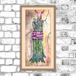 szparag,obraz,akwarele,kuchenny,martwa natura - Obrazy - Wyposażenie wnętrz